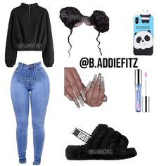 Baddie Outfits Casual, Boujee Outfits, Teen Fashion Outfits, Dope Outfits, Girly Outfits, Simple Outfits, Trendy Outfits, School Outfits, Swag Outfits For Girls