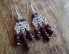 Garnet and antiqued silver earrings by Unics on Etsy, $26.00