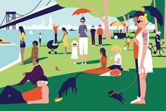 NY version of Seurat's A Sunday Afternoon on the Island of La Grande Jatte. NYT illustration?