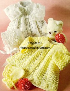 551 2 Adorable Baby Sets Matinee Jackets by HeirloomKnitPatterns Knitting Yarn Diy, Baby Knitting Patterns, Baby Patterns, Knitting Needles, Baby Set, Baby Cardigan, Baby Boys, Minnie Mouse Doll, 4 Ply Yarn