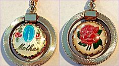 $129 Double sided Enamel Spin necklace features the Blessed Mother Virgin Mary as Our Lady of Grace and Miracles of the Miraculous Medal, with pink roses and the word MOTHER, against a white guilloche background. The other side features a Pink Rose under glass.