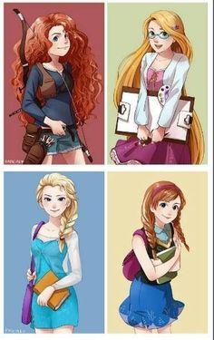 anna, elsa, merida and rapunzel female four modern - Google Search