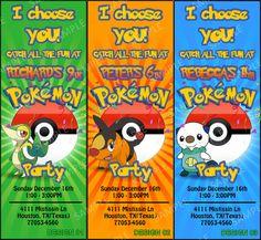 Pokemon Printable Invitations | Pokemon Birthday Party Invitation - Pokemon Ticket ... | birthday par ...