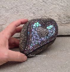 Double Heart with Rose Mosaic Paperweight / Garden Stone