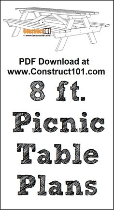 8 Foot Picnic Table Plans | PDF Download - Construct101 Diy Picnic Table, Picnic Table Plans, Detailed Drawings, Step By Step Instructions, Pdf, How To Plan, Guns, Tables, Cottage