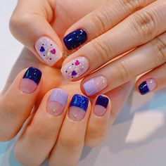 That lavender and those dark blue colors are super pretty. I wonder how much longer this takes than one standard single color. Asian Nail Art, Asian Nails, Korean Nail Art, Korean Nails, Nail Manicure, Shellac Nails, My Nails, Uñas Sailor Moon, Idol Nails