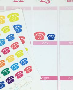 24 Colorful Telephone Stickers – Perfect for Erin Condren, Plum Paper Planner, Inkwell Press, Filofax, Scrapbooking & More