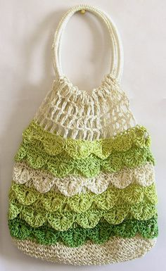 Off White, Light Green and Dark Green Crochet Bag (Thread))