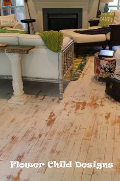 Chalk painted wood floor, distressed with sanding, finished with hemp oil