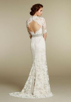 lace wedding dress. Back and sleeves are beautiful.
