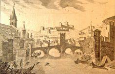 Lo splendore di Verona prima della rivoluzione -  Veduta da levante  del ponte delle Navi, 1750 circa. Disegno di Gian Francesco Avesani ingegnere in un' incisione di Valesi. Biblioteca Civica di Verona, Gabinetto delle Stampe e Disegni.