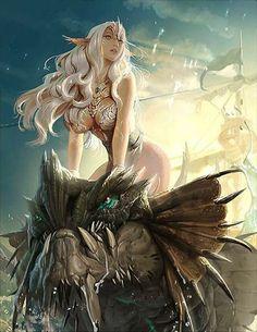 Sea Dragoon Cordula - Legend of the Cryptids Fantasy Girl, 3d Fantasy, Fantasy Kunst, Fantasy Dragon, Fantasy Women, Dragon Art, Fantasy Artwork, Dark Fantasy, Fantasy Inspiration