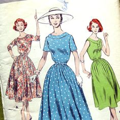 1950s Vintage Sewing Pattern  Day Dress / Soft by SelvedgeShop