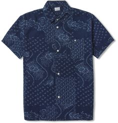 Edwin Nimes Short-Sleeved Floral-Print Denim Shirt | MR PORTER