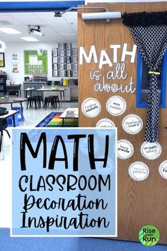 I love these math classroom decoration ideas! Math bulletin boards, door decorations, functional wall displays for decorating your math class. Inspiration for back to school and getting the… More