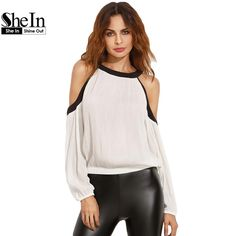 SheIn Womens Casual Tops and Blouses For Summer Ladies 2016 Beige Round Neck Cold Shoulder Long Sleeve Short Blouse