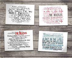 Deluxe Gift Set - THE BEATLES - With Art Presentation Collector`s Folder - 4 x Retro Oversized A5 Postcards - Based On Limited Edition Typography Album Artwork by Lissome Art Studio - Collectable Music Song Lyrics Postcard Poster Art Prints: Amazon.co.uk: Kitchen & Home