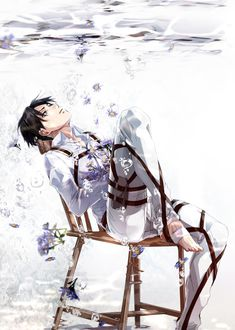 Levi sitting under water with forget-me-nots....me likes very much   SNK