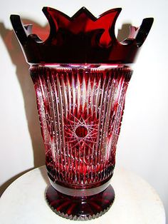 Tom Bohemian Crystal Czech Cased Gold Ruby Red Cut to Clear Vase 12 | eBay
