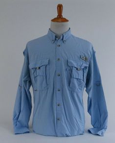 ac3fdc99d8b Columbia PFG Fishing Golf Vented Baby Blue Button Front Long Sleeve Shirt  Size L #Columbia #ButtonFront