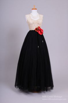 1950's Chanel Inspired Vintage Ball Gown : Mill Crest Vintage