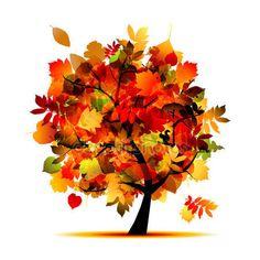 Piękne drzewo jesień do projektowania — Grafika wektorowa © Kudryashka #7208041