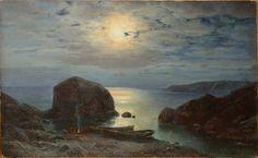 """Ivan Vetz (1866 - 1926) - """"La nuit sur le bord de la mer, les pêcheurs à côté de la feu""""."""