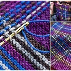 Technique to turn garter stitch to tartan Do something similar with slip stitch crochet? Idea of a tartan shrug Loom Knitting, Knitting Stitches, Free Knitting, Knitting Patterns, Crochet Patterns, Rowan Knitting, Knitting Magazine, Crazy Quilting, How To Purl Knit