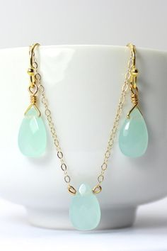 Mint Green Bridesmaid Jewelry Set  Mint Bridesmaid by ForTheMaids, $35.00