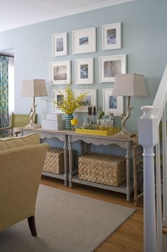 I'm thinking about toning down the color in the formal living room. This is inspiration