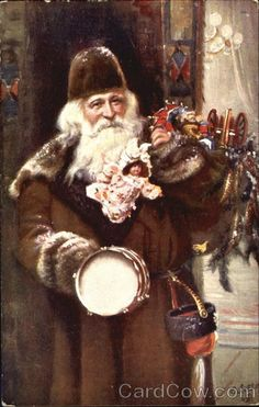 Brown coated Santa with many toys, prominent drum & doll (Germany) Old Time Christmas, Christmas Past, Father Christmas, Christmas Greetings, Mary Christmas, Xmas, Vintage Christmas Images, Victorian Christmas, Santa Pictures