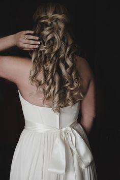 Wedding bridal hair idea - curly half updo {Nine Photography}