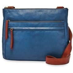 Fossil Marine Corey Large Crossbody Bag ($198) ❤ liked on Polyvore featuring bags, handbags, shoulder bags, marine, zip purse, fossil handbags, blue crossbody purse, blue cross body purse and crossbody handbags