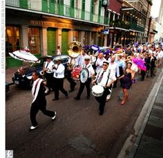 A New Orleans tradition, a second line band escorted the parade to Nola, where the party continued. Personalized parasols for the wedding party and hankies to all the guests to wave as they walked down the street. Second Line Parade, Funeral March, New Orleans Mardi Gras, New Orleans Louisiana, Brass Band, New Orleans Wedding, Crescent City, Real Weddings, Jazz