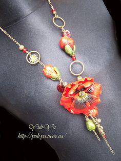 Poppy on a model by Yuli-Ya, via Flickr  Polymer Clay