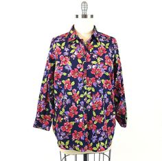 bcc9ec3c Lands End Shirt 22W Tibetan Red Navy Floral Button Front No Iron Supima