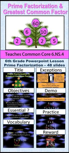 Sixth Grade Prime Factorization and Greatest Common Factor teach students how to find the GCF and use a factor tree to find all the factors of a number.  To see this product click Visit.