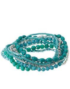 10 x Elastic Stretch Bracelets | Blue | Accessorize