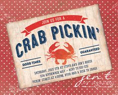 Crab Invitations by JenTbyDesign on Etsy