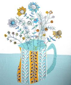 Retro flowers and jug by Bev Holmes-Wright