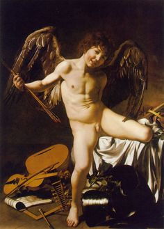 """1602 - Baroque - Amor Victorious - Caravaggio - Cupid, the god of love stand upon the trampled symbols of music, science, war, and government, illustrating Virgil's line: """"love conquers all; let us all yield to love!"""" Caravaggio's depiction of Cupid, rather than the cherub-like, idealized boy, is realistic, from the crooked grin to the tousled head of hair."""
