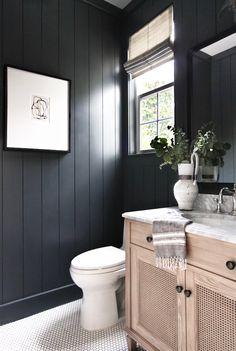 Black bathroom with white penny tile bathroom remodel cost, bathroom renova Dark Bathrooms, Beautiful Bathrooms, Bathroom Black, Small Dark Bathroom, Bathroom Canvas, Luxurious Bathrooms, Penny Tile Bathrooms, Bathroom With Wood Wall, Black And White Bathroom Ideas