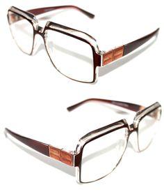 Mens Women Vintage 607 Hip Hop Clear Lens Eye Glasses Run DMC Brown Clear Bronze #Stars #Square
