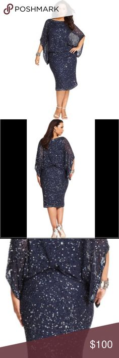 Dress From Patra Plus, this dress features: Allover sequin and beading. Boat neckline. Kimono short sleeves. Blouson bodice. Beaded elastic waistline. Invisible back zipper closure. Silk; polyester lining. Spot clean. Color: Royal Blue. My mother wore this dress only once. Size 12 Patra Dresses Midi
