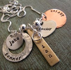 Hey, I found this really awesome Etsy listing at https://www.etsy.com/listing/82494851/personalized-family-charm-necklace
