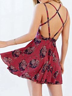 Dark Red Floral Spaghetti Strap Cross Back Two Layer Dress | abaday