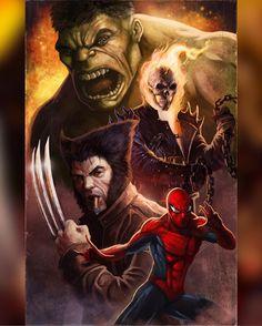 Hulk, Ghost Rider, Wolverine, and Spider-Man