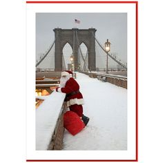 Santa Watching Cars running on Brooklyn Bridge below pedestrian level. This Greeting Card will be appropriate as a part of personal or corporate gift. Bulk order discount available.