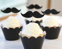 24sets Black Mustache Cake Cups Picks Toppers Decoration For Boy Party  cakepins.com
