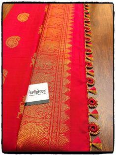Bridal Saree Kuchu Design saridress Krishne's customised saree pallu designs ar… Saree Kuchu New Designs, Saree Tassels Designs, Pattu Saree Blouse Designs, Sleeves Designs For Dresses, Designer Blouse Patterns, Latest Sarees, Indian Fashion, Fashion Ideas, Hand Designs